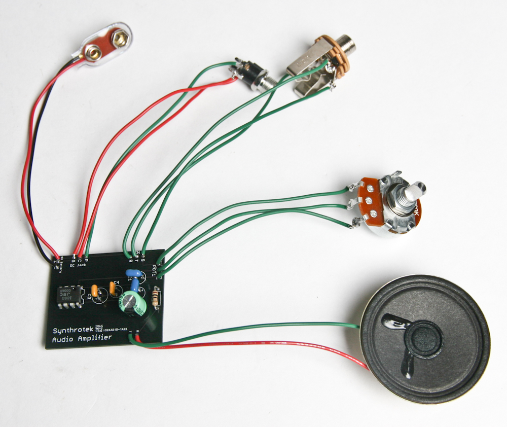 Lofi Audio Amplifier Assembly Instructions Synthrotek Speaker Jack Wiring Features About This Is That It Will Not Draw Power Unless Something Plugged Into The Input We Accomplish By Using A Stereo