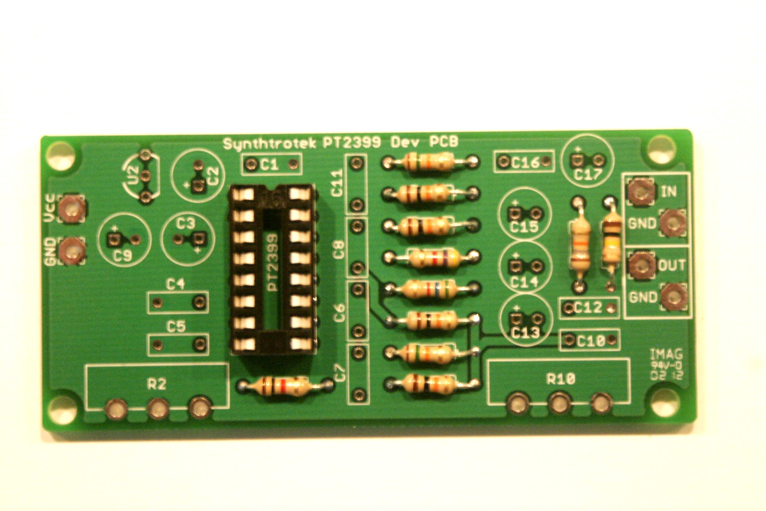 Pt2399 Dev Delay Assembly Instructions Synthrotek What Solder To Use For Circuit Boards Board Diy Insert The Resistors Into Their Respective Pcb Positions And