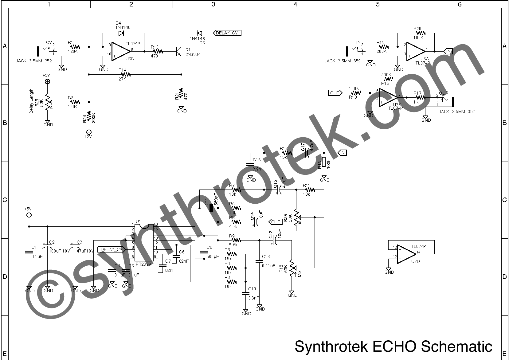 Echo Schematic on optical theremin schematic