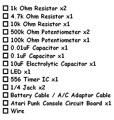 Atari Punk Console Components List