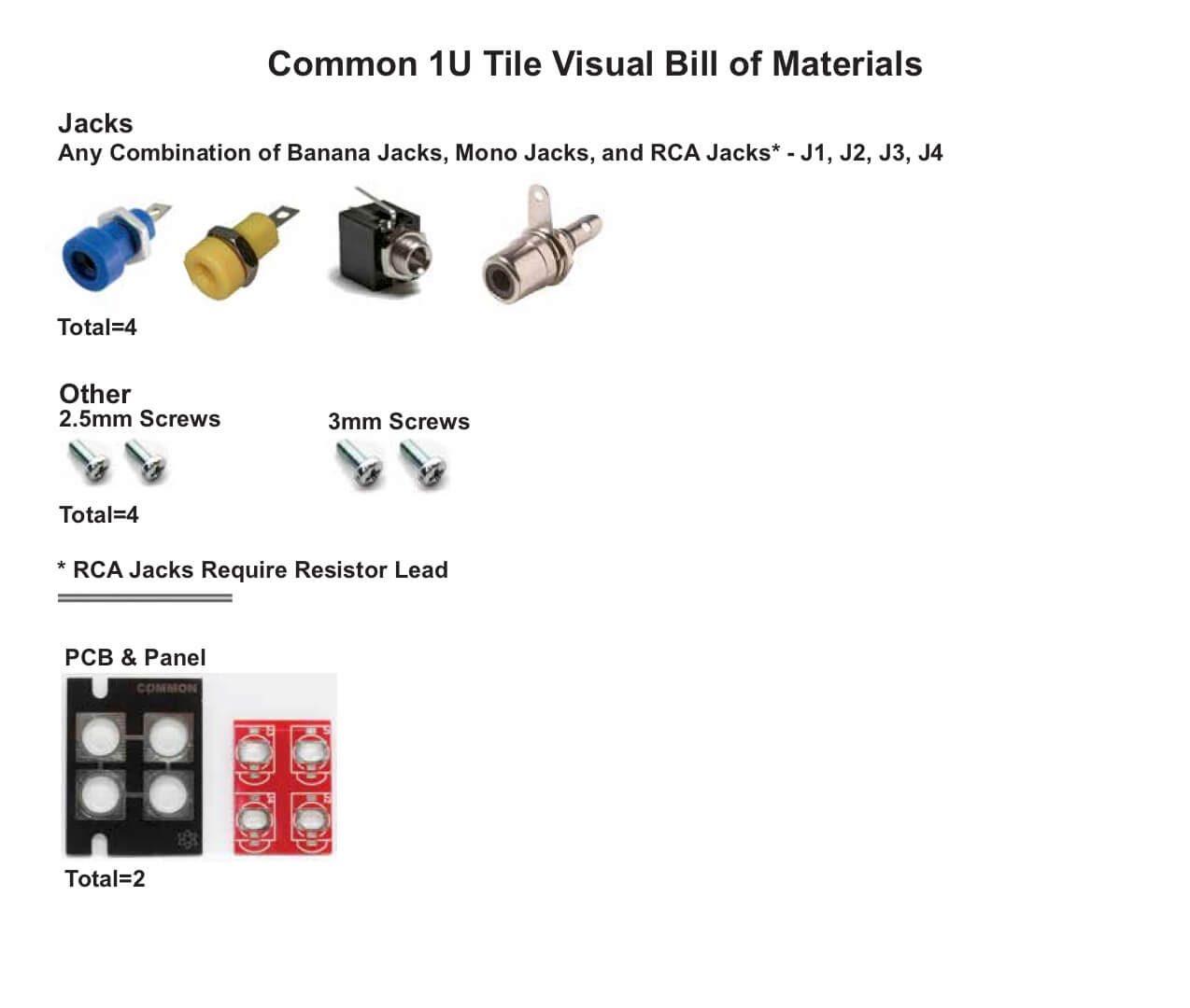 Common 1U Tile Visual Bill of Materials