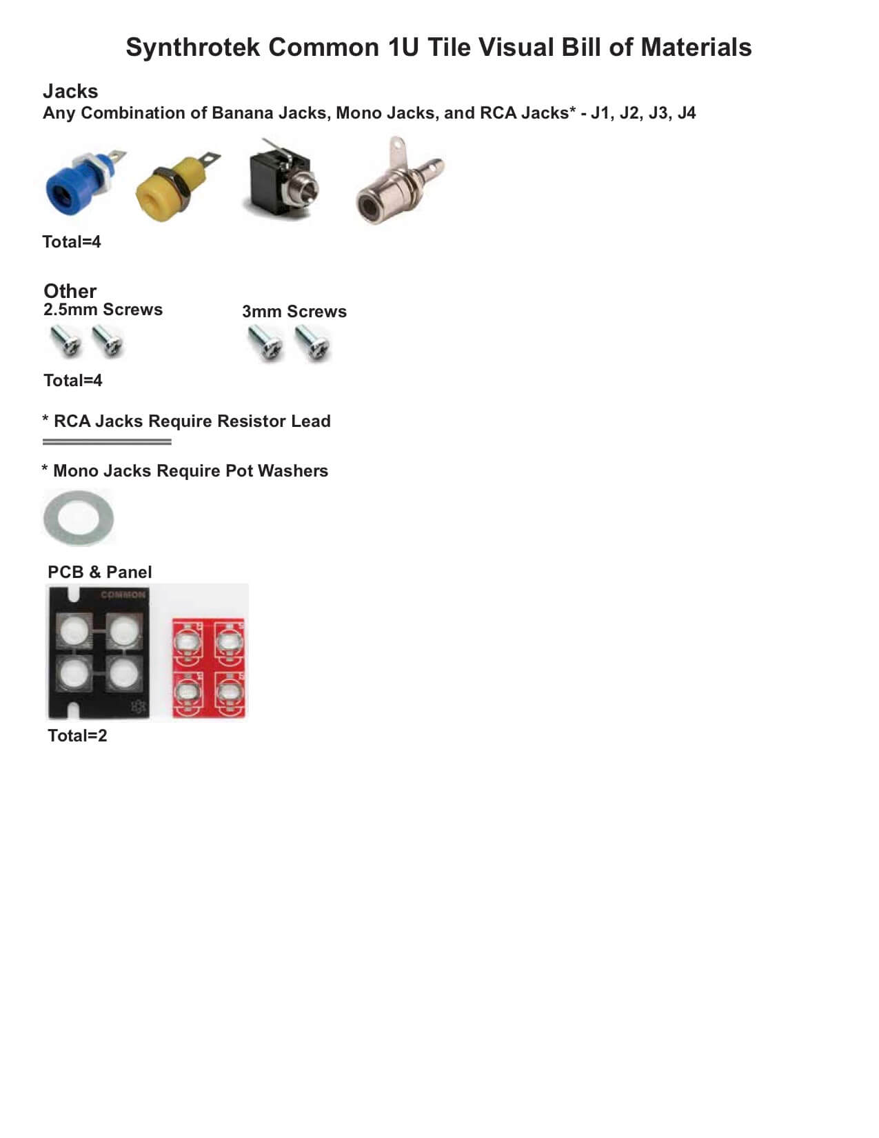 Common 1U Tile Bill of Materials